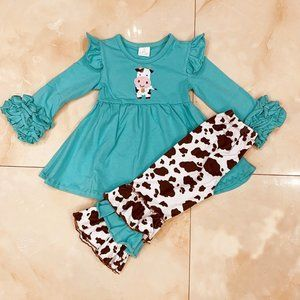 COW PRINT BELL PANTS OUTFIT - NEW